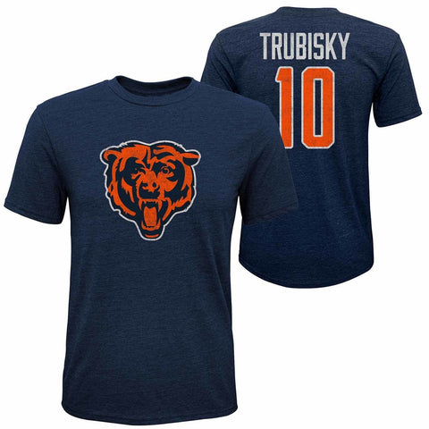 Youth Mitch Trubisky #10 Chicago Bears Tri-Blend Name and Number Short Sleeve T-Shirt