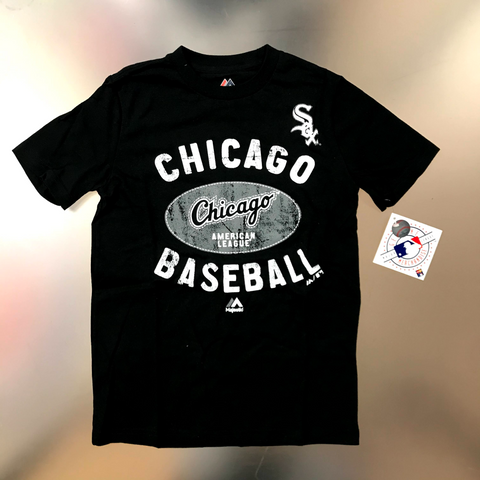 Chicago White Sox Majestic Youth Black Chicago Baseball T-shirt