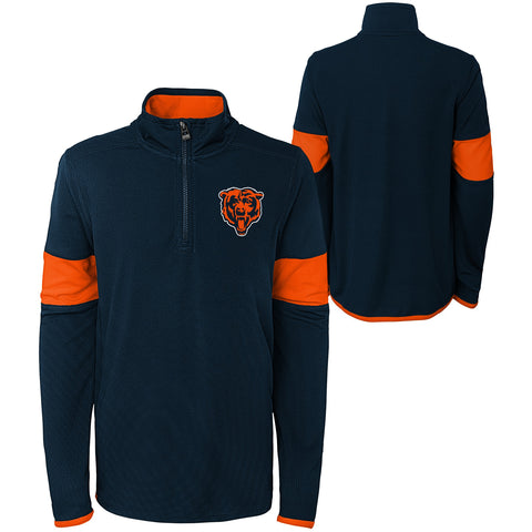 Chicago Bears Youth 1/4 Zip Pullover Sweater - Navy