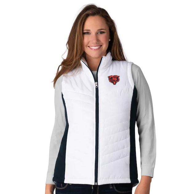Chicago Bears Women's Team Spirit Padded Sleeveless Vest - White