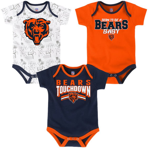Chicago Bears Infant Unisex 3 Piece Bodysuit Set