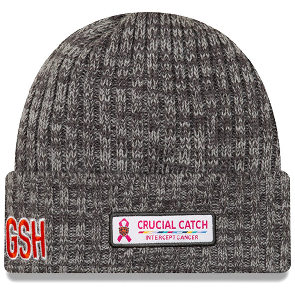 Chicago Bears New Era Heather Gray 2019 NFL Crucial Catch Logo Cuffed Knit Hat