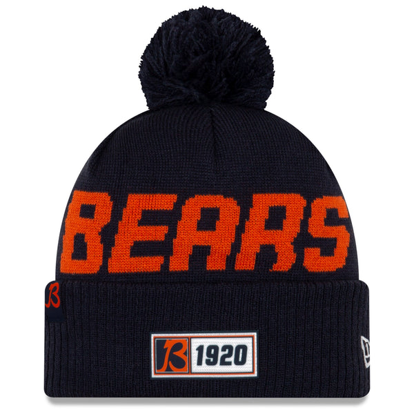 Chicago Bears New Era Navy 2019 NFL Sideline Road Official Sport Knit Hat