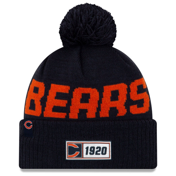 Chicago Bears New Era Navy 2019 NFL Sideline Road Official Logo Sport Knit Hat