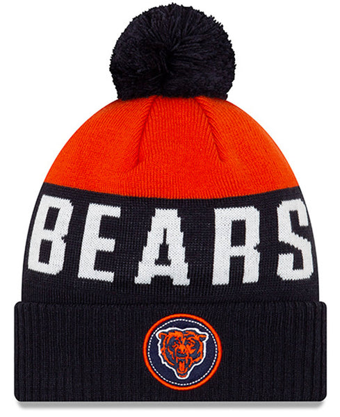 Chicago Bears bear logo Patch Pom Knit Hat by New Era