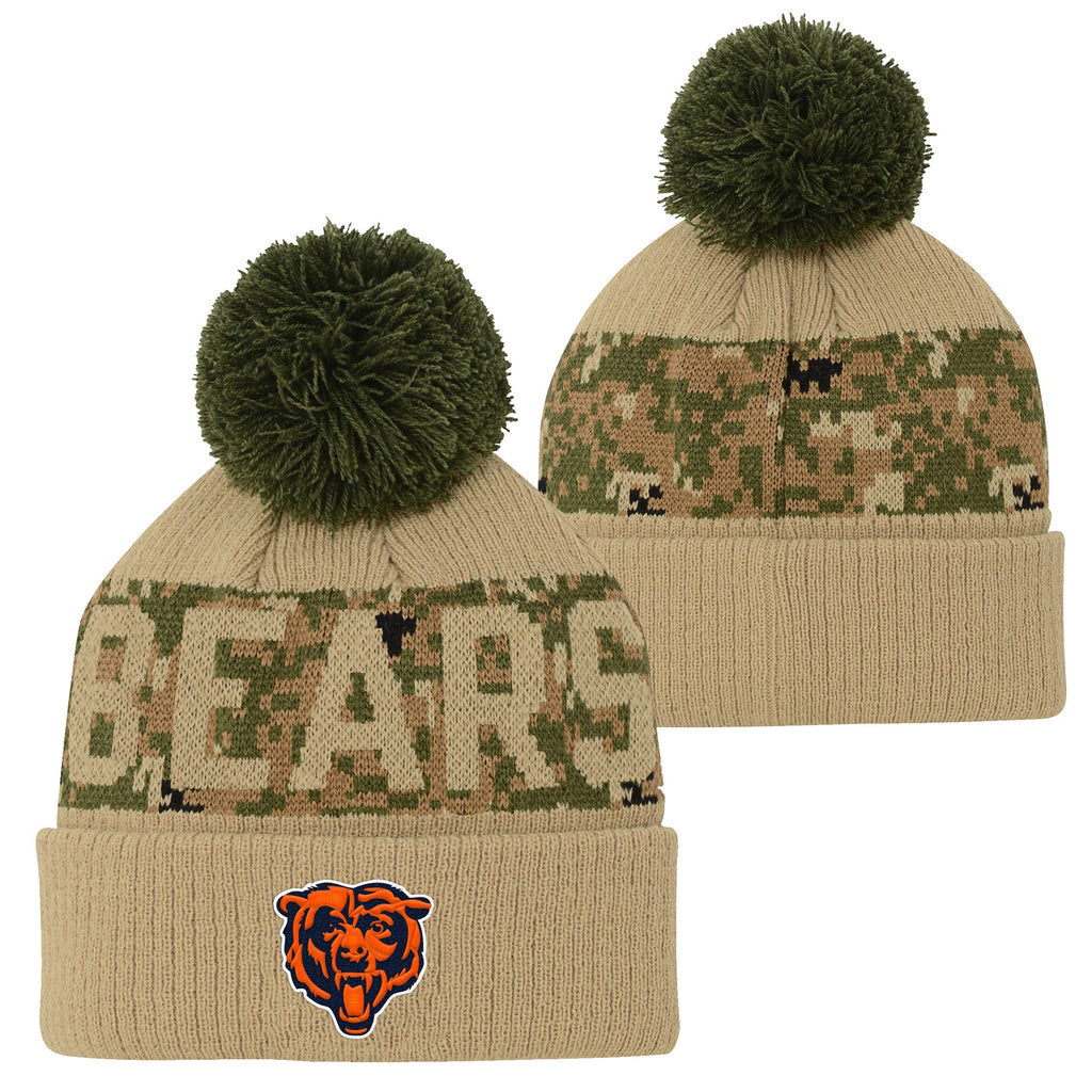 Chicago Bears Youth Kids Beanie Army Print Knit Winter Hat