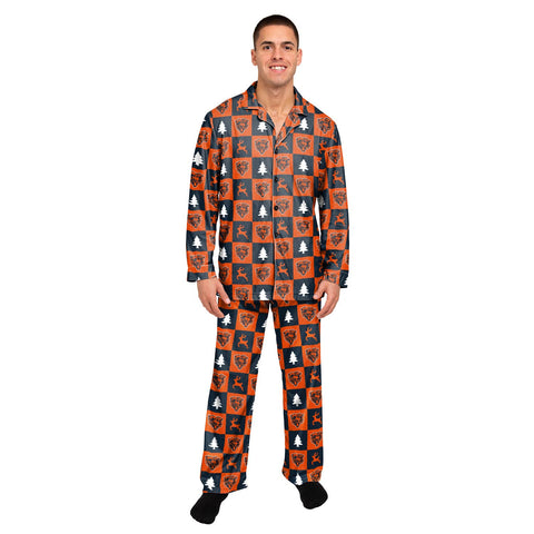 Chicago Bears Men Button Up Holiday Pajama Set