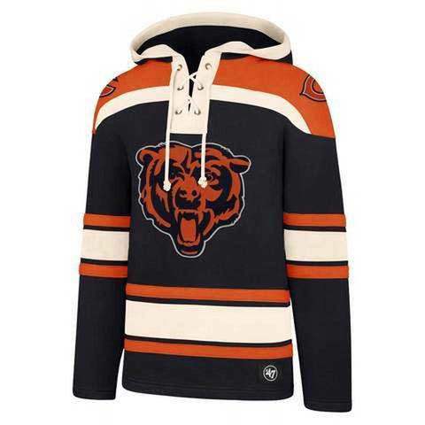 Chicago Bears Men's '47 Brand Lacer Pullover Jersey Hoodie - Navy