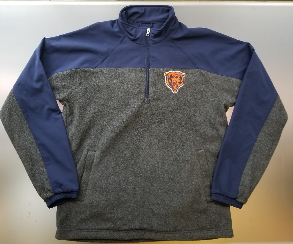 Chicago Bears Men's Team Spirit Pullover Fleece 1/4th Zip Jacket - Gray
