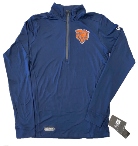 New Era Chicago Bears Adults Combine Authentic 1/4 Zip  Long Sleeve  -Blue