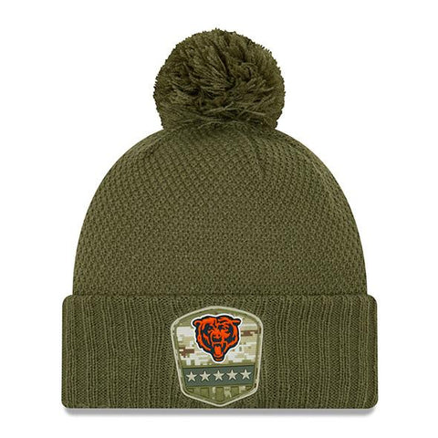 Chicago Bears Women's 2019 Salute To Service Pom Knit Winter Hat - Green