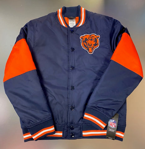 Chicago Bears NFL Youth Button Up Jacket -Blue/Orange