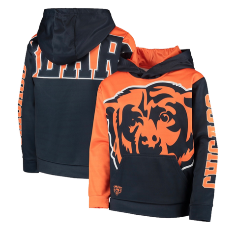 Chicago Bears Youth Quarterback Sneak Pullover Hoodie - Navy/Orange
