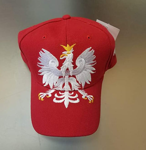 Polish Poland Giant Eagle Embroidred Adjustable Hat - Red