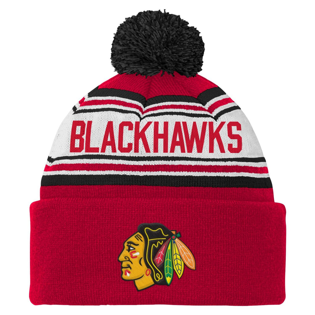 NHL Chicago Blackhawks Toddler 2-4 Cuffed Knit Pom Hat, Red
