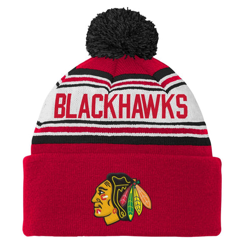 24608ca1122 NHL Chicago Blackhawks Youth 8-20 Cuffed Knit Pom Hat