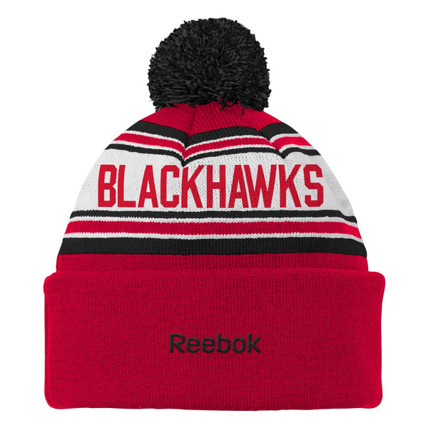 NHL Chicago Blackhawks Youth 8-20 Cuffed Knit Pom Hat, Red