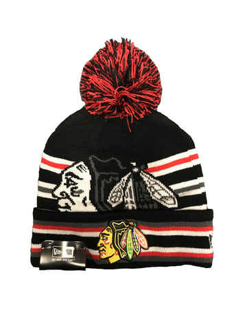 Chicago Blackhawks New Era Black Strike Through Knit Hat w/ Pom-Pom