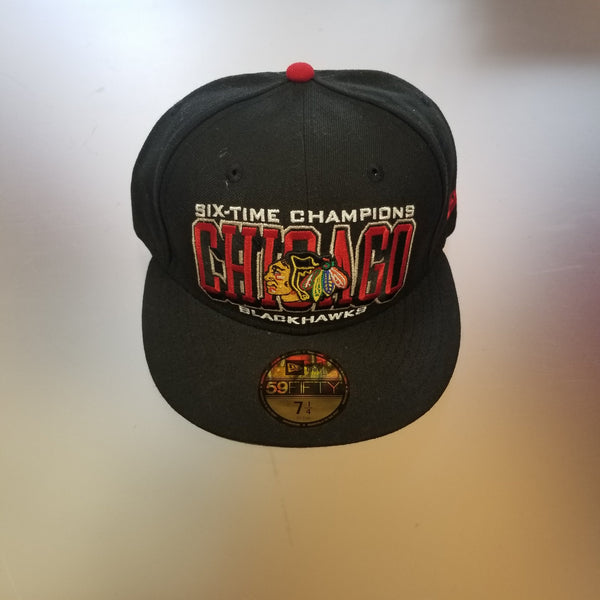 Chicago Blackhawks Men's 59Fifty Six-Time Stanley Cup Champs Arched Hat - Black
