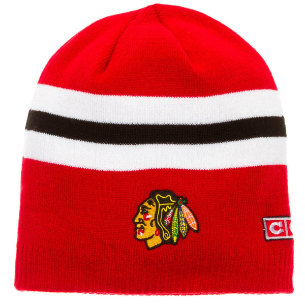 Chicago Blackhawks Youth 8-20 Team Logo Alumni Cuffless Knit Hat NHL CCM Beanie