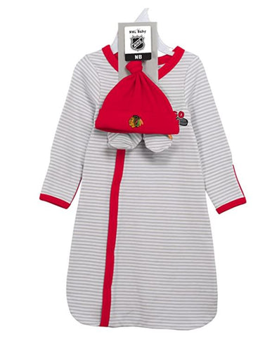 Chicago Blackhawks Baby Infant Layette Newborn Gown, Hat & Bootie Set - 0/6 Months