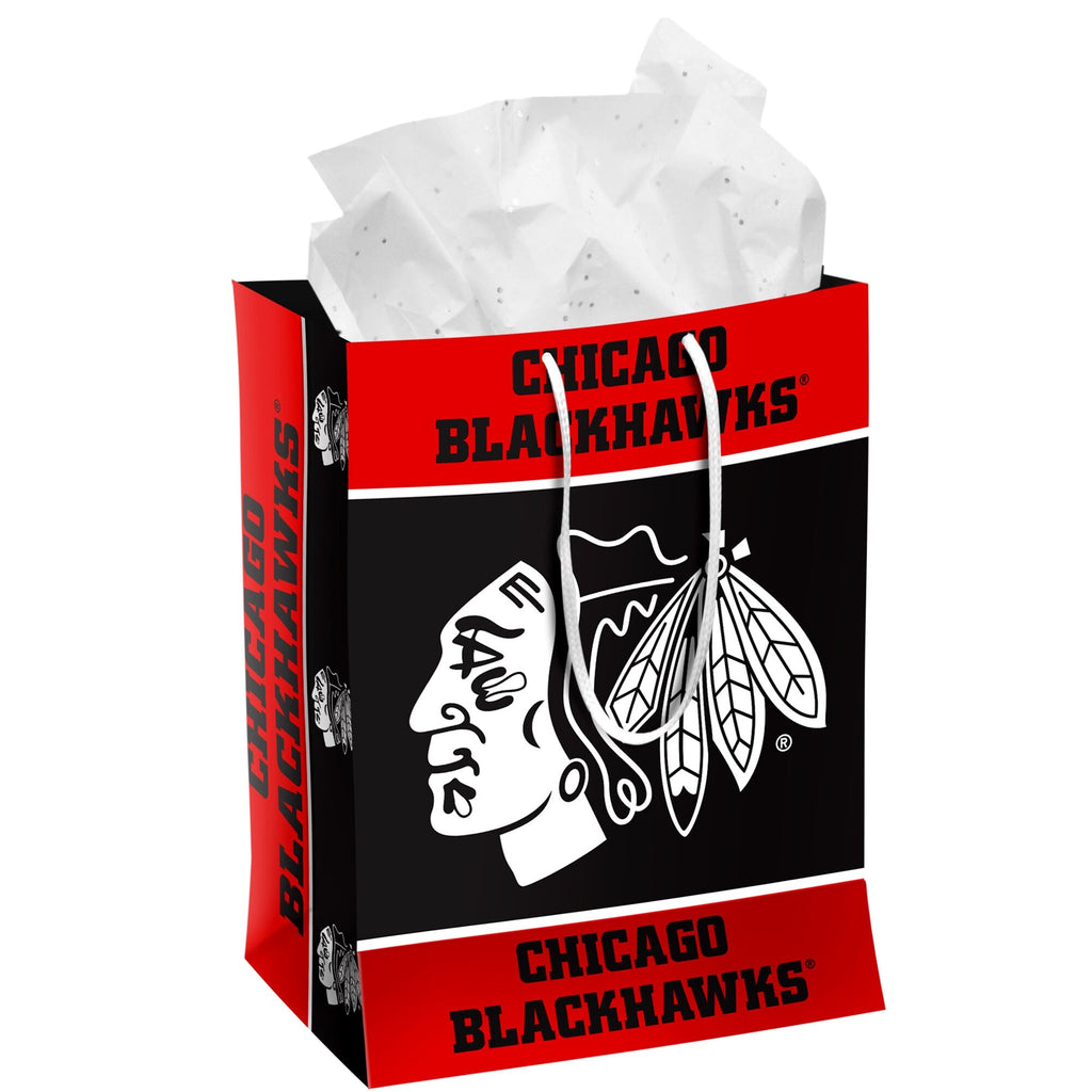Chicago Blackhawks Team Color Medium Black Party Gift Bag