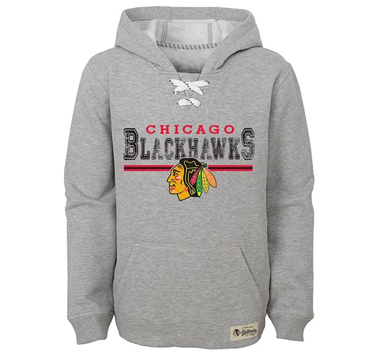 Chicago Blackhawks NHL Boys Traditional Pullover Fleece Hoodie - Gray