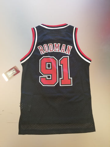 Chicago Bulls Youth Dennis Rodman Black Jersey Hardwood Classic Swingman