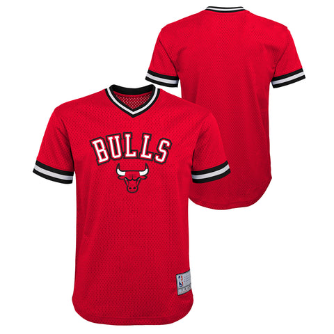 Chicago Bulls Youth Plain Red Short Sleeved V-Neck Stitched Jersey
