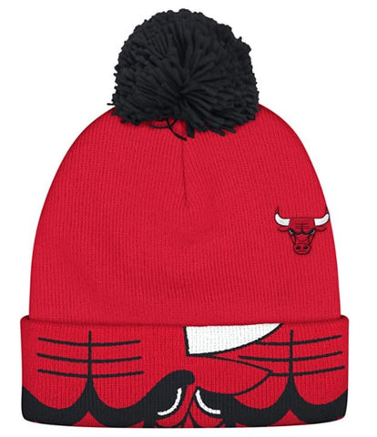 Chicago Bulls NBA Adidas Bull Logo Knit Winter Hat with Pom - Red