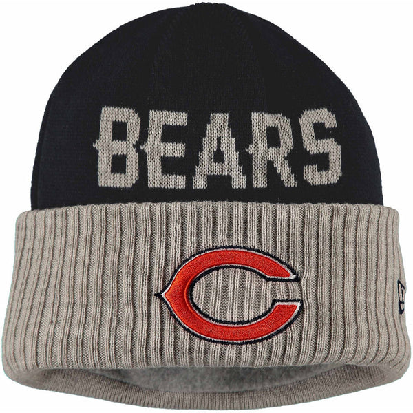 Chicago Bears Men's New Era NFL Classic Cover Cuffed Knit Winter Hat - Navy/Gray