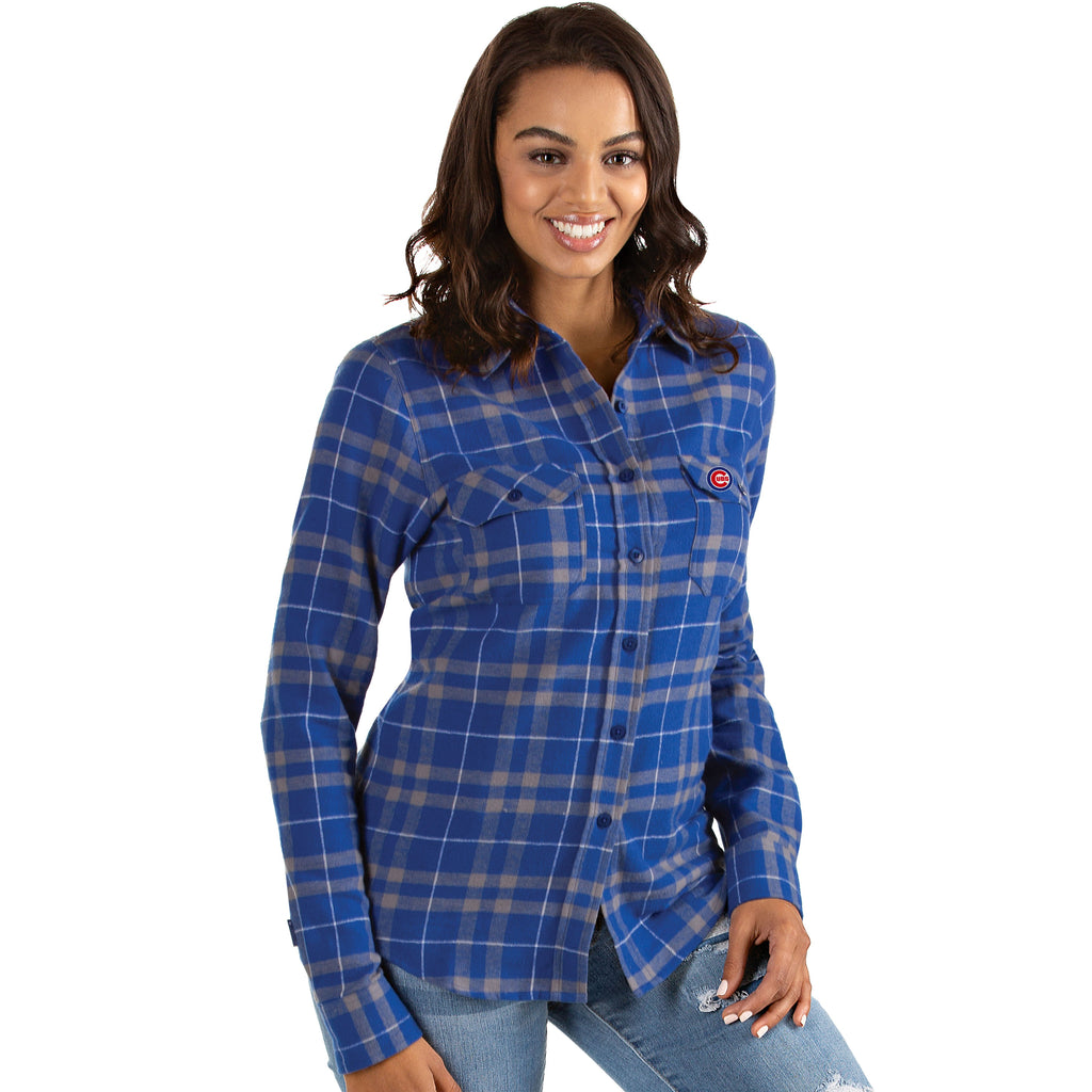 Chicago Cubs Women's Antigua Flannel Button Up Shirt - Gray/Blue
