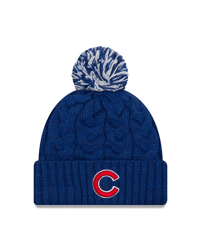 Chicago Cubs Women's New Era Cozy Cable Knit Sparkle Knit Winter Hat - Blue
