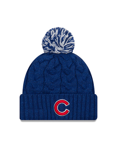 Chicago Cubs New Era Cozy Cable Knit Sparkle Beanie Hat