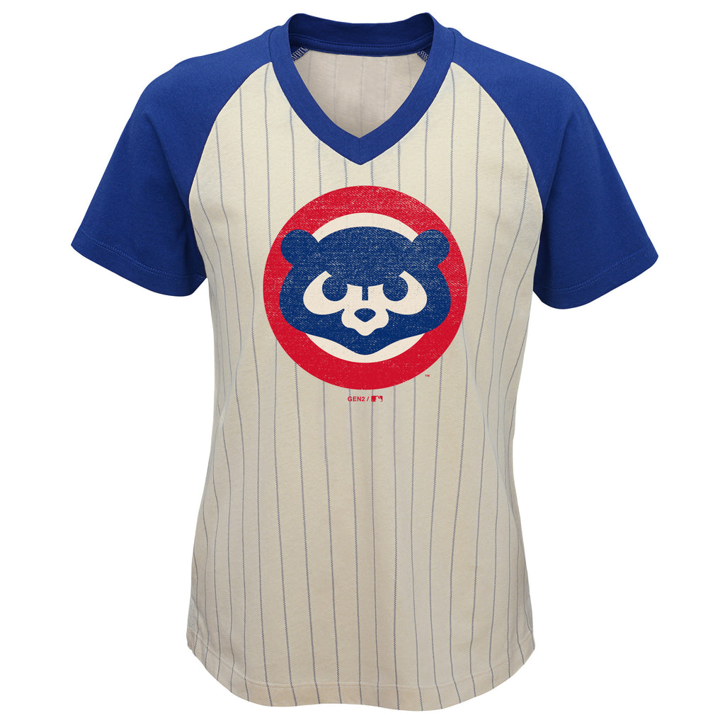 Chicago Cubs Youth Elegant Win Cooperstown V-Neck Tee Shirt Vintage