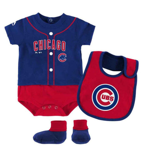 Chicago Cubs MLB Newborn / Infant Tiny Player Bib, Booty & Bodysuit Set by Majestic