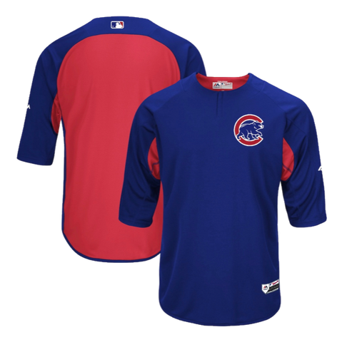 Chicago Cubs Majestic Men's CoolBase Royal/Red Authentic Collection On-Field 3/4-Sleeve Batting Practice Jersey