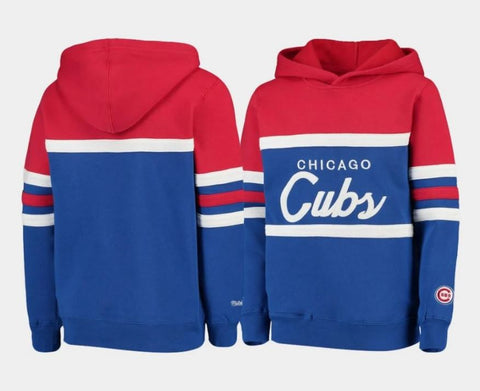 Chicago Cubs Youth Mitchell & Ness Head Coach Pullover Hoodie - Royal/Red