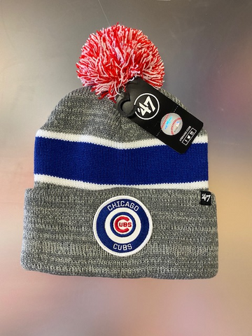 '47 Brand Chicago Cubs Winter Knit Hat With Pom Pom -Grey/Blue