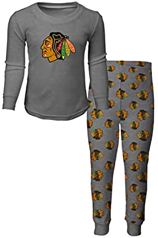 Chicago Blackhawks Youth Gray Pajama Shirt and Pants Set