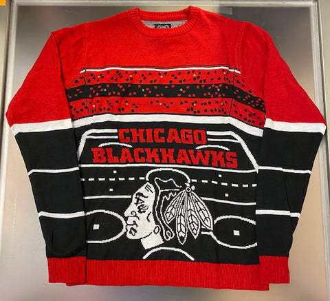 Chicago Blackhawks NHL Light Up Ugly Sweater -Black/Red