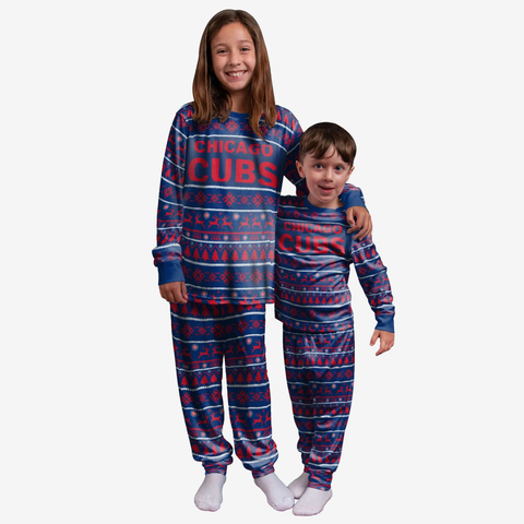 Chicago Cubs Youth, Kids, Toddler, and Infant FOCO Royal Winter Pajama Set - 2 Pieces