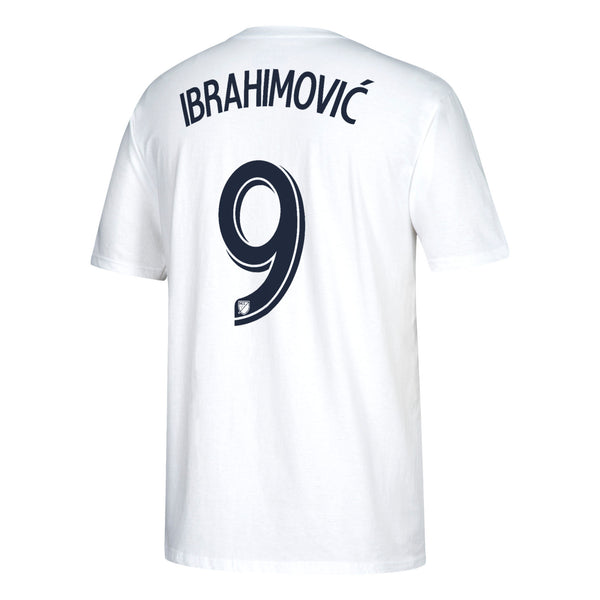 quality design 476bc 11b89 LA Galaxy Zlatan Ibrahimovic White Men's Adidas Shirt Tee Number 9