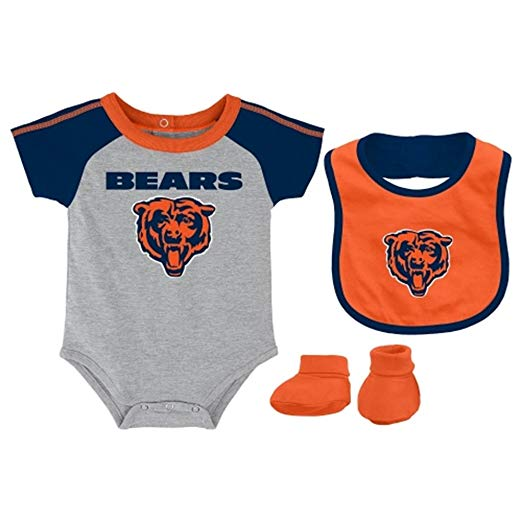 Chicago Bears Infant Creeper Bib & Bootie Set - Grey