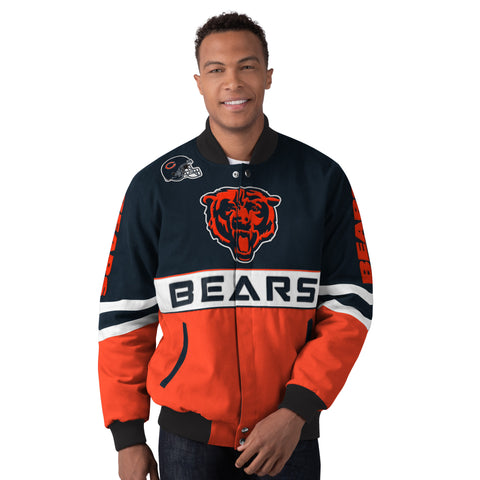 Chicago Bears Men's Button-up Jacket With Embroidered Logos