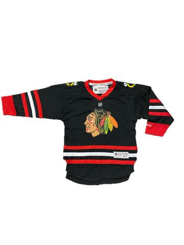 Chicago Blackhawks Reebok Kids 4-7 Black Printed Limited Jersey