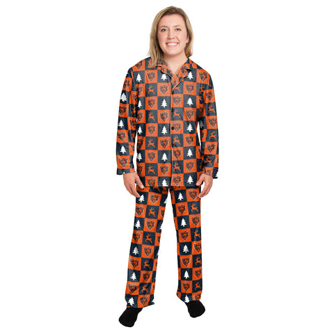 Chicago Bears Laddies Button-up FOCO Royal Winter Pajamas