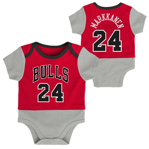 Chicago Bulls Red Infant Baby #24 Markkanen One Piece BodySuit