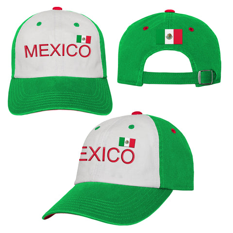 Men's Mexico Colorblock Hat Adjustable World Cup Embroidered Football Soccer
