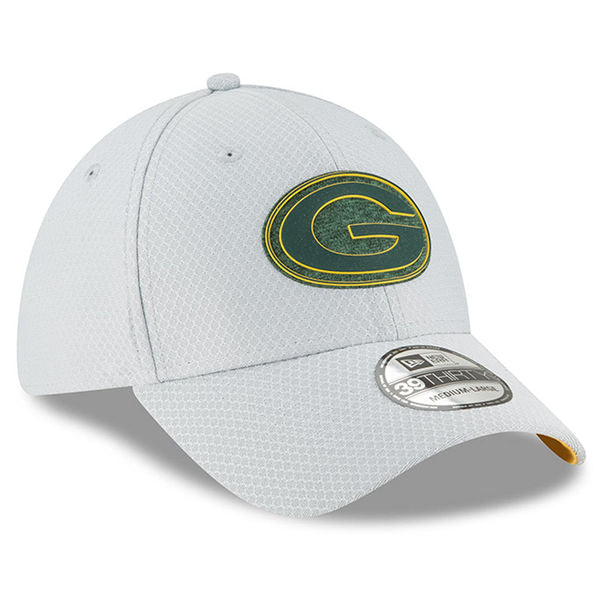Green Bay Packers Mens New Era 2018 NFL Gray Training Camp Official 39THIRTY Flex Hat